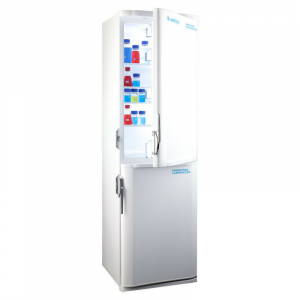 Laboratory fridge freezer with lock